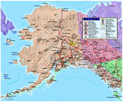Alaska Interior Game Ranch Private Herd - Physical map of alaska